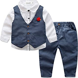 Kimocat Kids 3pcs Formal Clothing Set, Vest, Shirt, Pants, Brooch for 3-7 Years