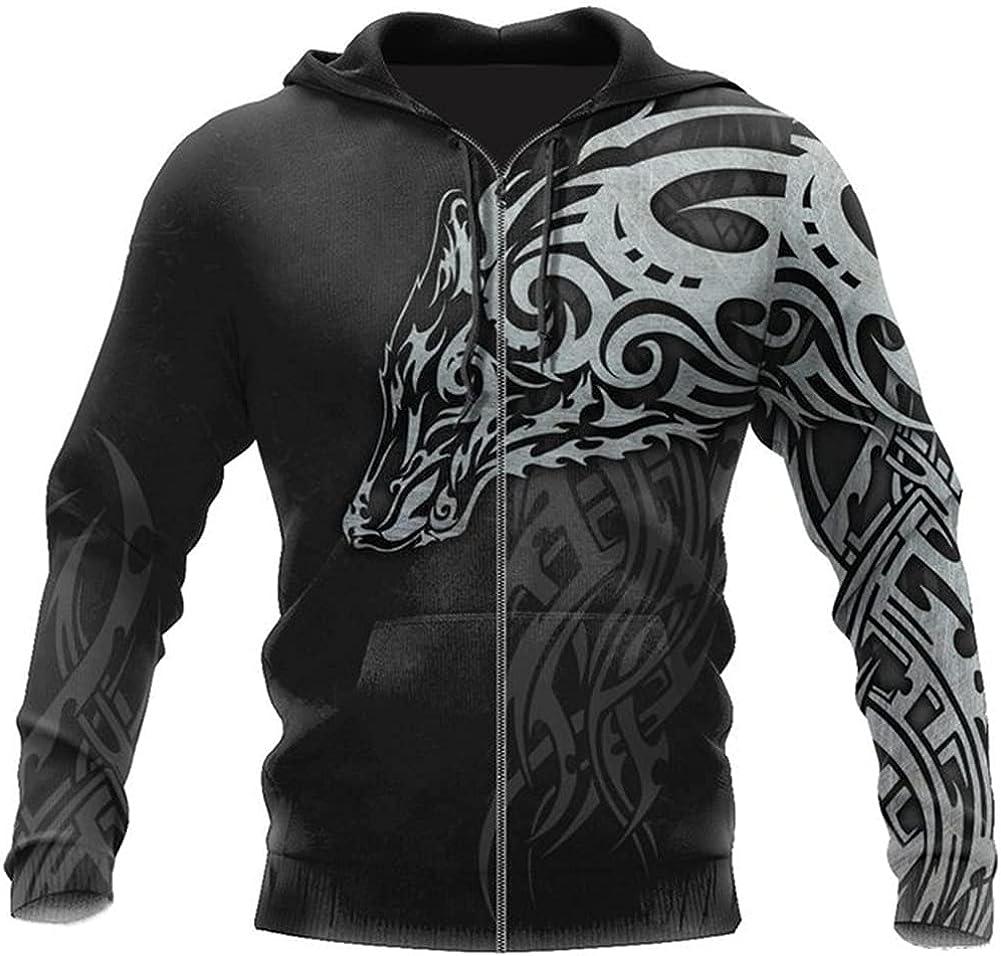 Mens Casual 3D All Over Print Hoodies, Viking Wolf Tattoo Man Pullover Women Hood, Sweatshirt Hip-Hop Jacket Unisex New Streetwear,A,3XL