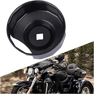 HAKA TOUGH Motorcycle Oil Filter Cap Wrench Black Steel for 1984-2019 Harley Davidson Spin-on Oil Filters (Except '15-Later XG) with 76 x 14 Flutes (Crank Sensor)