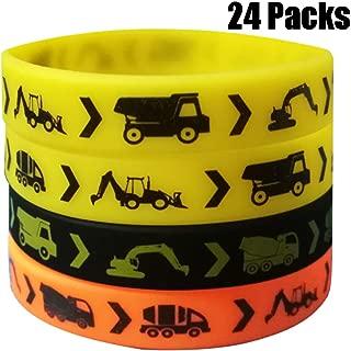 24PCS Construction Zone Party Favors Rubber Bracelets - Kids Construction Birthday Party Supplies Car Decorations Goodie Bag Stuffers Slicone Wristbands