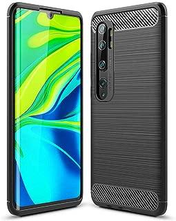 Toppix Xiaomi Mi Note 10 / Mi CC9 Pro ケース, ソフトTPUシリコーン [指紋防止] [落下防止] [カーボンルック][薄型 軽量] Xiaomi Mi Note 10 / Mi CC9 Pro用 カバー (ブラック)