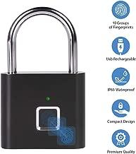 Fingerprint Padlock, One Touch Open Gym Lock for Locker, Sports, School & Employee Locker, Suitcase (No App, No Bluetooth & No Breaking into Troubled)