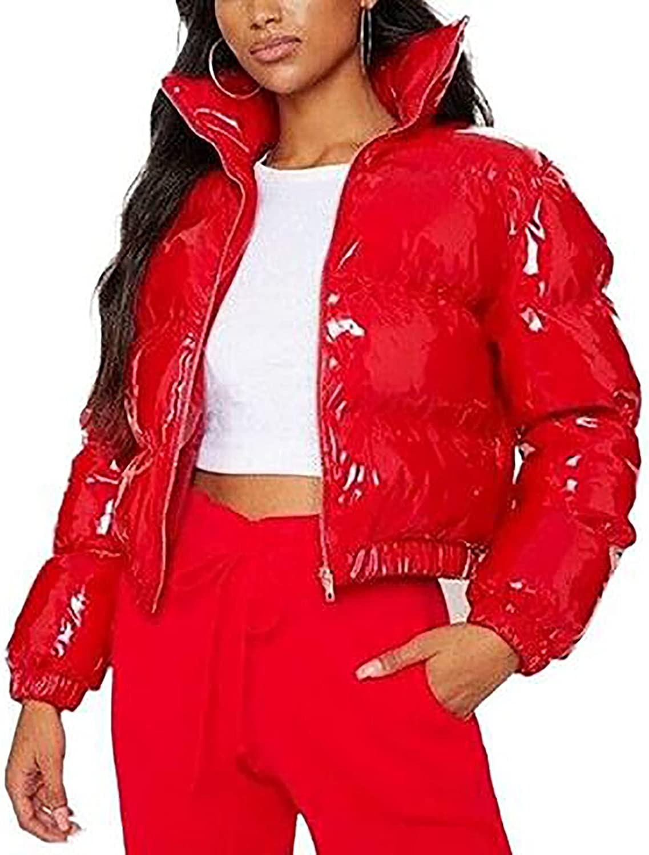 Women's Winter Short Stand Collar Lightweight Zip Quilted Warm Hooded Jacket Slim Outwear Coat for Women Black Red Pink