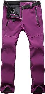 Briskorry Pantalones de senderismo para mujer, de invierno, para exterior, forro polar interior, de softshell, que absorbe...