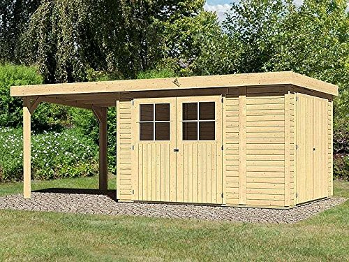Karibu Gartenhaus LIMBURG 3 + Anbaudach + Anbauschrank Gerätehaus 510x217cm 19mm