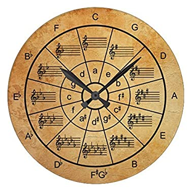 Circle Of Fifths Brown Color Musicians Antique Wall Clock Decor For Living Room Nursety Wood Wall Clock Art For Kids Kitchen Bedroom Decorative 12 Inch