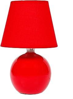 LUM&CO Lámpara bola cerámica E14, Roja, 14 x 21 cm