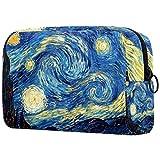Neceser Maquillaje Portátil Bolsa de Maquillaje Ligera Bolsillos Profesional Organizador de Maquillaje Bolso de Cosméticos de Viaje Pintura al óleo de Van Gogh 18.5x7.5x13cm