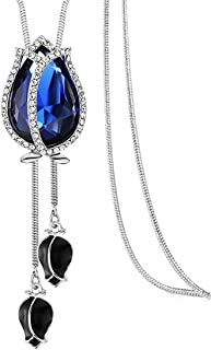 NOVADAB Magical Tulip Diamante Encrusted Exquisite Long Chain Necklace