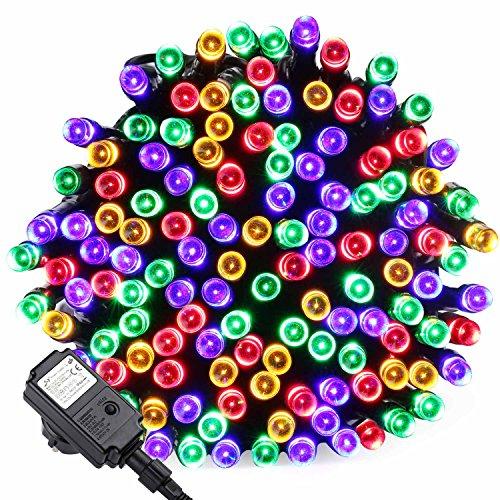 Qedertek Luci Albero di Natale, Catena Luminosa 20M 200 LED, Luci di Natale Esterno ed Interno, Filo verde scuro, Luci Colorate Addobbi Natalizi Esterno, Luci Natalizie da Esterno ed Interno