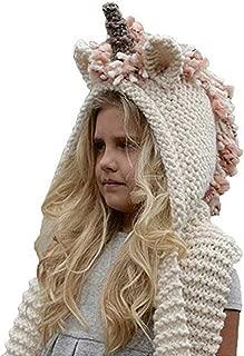 Kokkn Girls Boys Crochet Cartoon Unicorn Winter Hat with Scarf Pocket Hooded Set Knitting Beanie Cosplay Photography