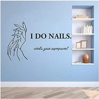 JILING Manicure Nails Wall Sticker Beauty Studio Decoration Nail Salon Lettering Wall Decals Girl Nail Polish Vinyl Stickers 57X35Cm