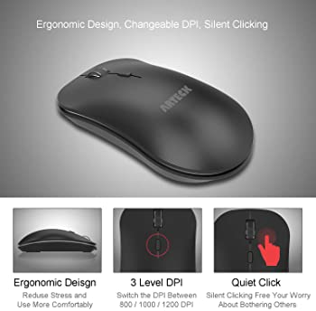 Arteck 2.4G Wireless Keyboard and Mouse Combo Ultra Compact Slim Stainless Full Size Keyboard and Ergonomic Mice for ...