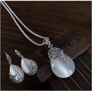 DSJTCH Vintage Water Drop Pendant Necklaces Earrings Set Silver Wedding Engagement Jewelry Sets for Women (Color : Clear)