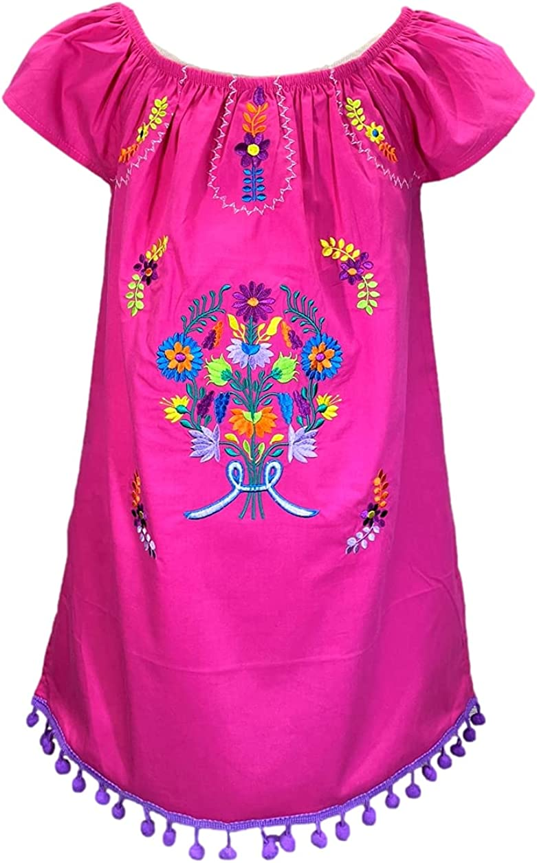 unik Infants and Little Girls Traditional Mexican Embroidered Cotton Dresses