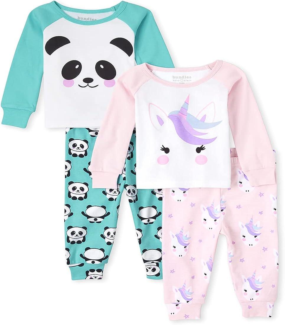 The Children's Place Baby Toddler Girl Unicorn Panda Snug Fit Cotton 4-Piece Pajamas