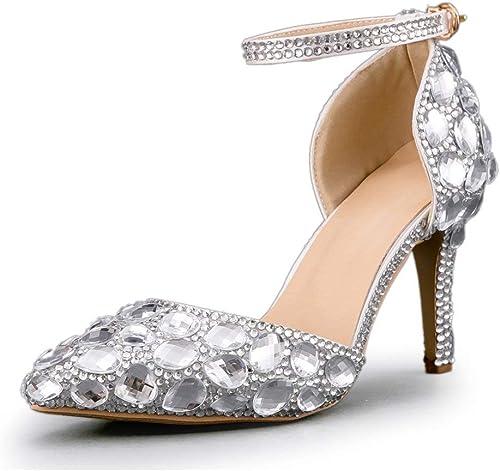 ZHRUI Strass Strass Strass Clouté Sparkle Chaussures De Mariée Femme (Couleuré   argent-9cm Heel, Taille   5 UK) ff1
