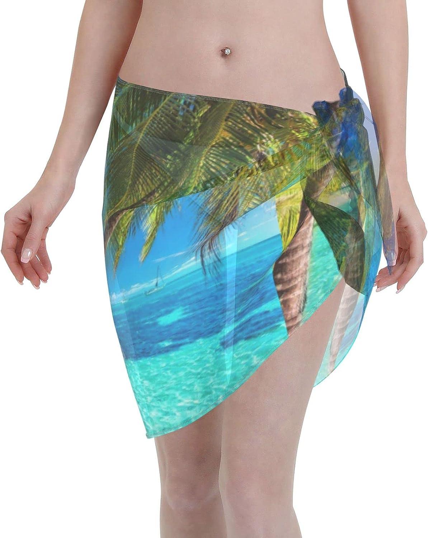 Image of Tropical Island Women Beach Short Sarongs Cover Ups Beach Swimsuit Wrap Skirt Black