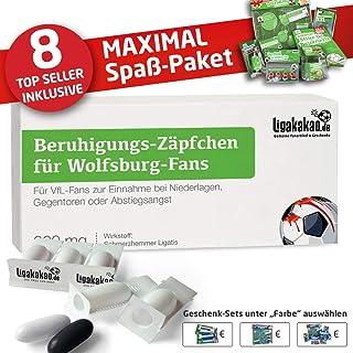 """Beruhigungs-Zäpfchen für Wolfsburg-Fans   Lakritz-Zäpfchen für Wolfsburg-Fans zur Einnahme bei Niederlagen, Gegentoren & Abstiegsangst   Wähle unsere verrückten Männer Geschenk-Sets über """"Farbe"""" aus"""