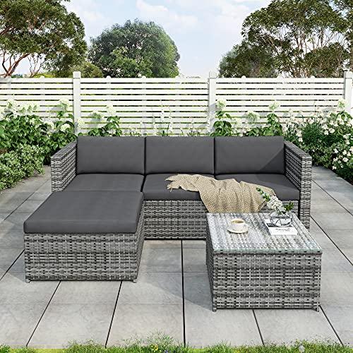 Leisure Zone Gartenmöbel Polyratten Lounge Set mit Kissens für Garten Terrasse&Balkon 5 Teilig Sitzgruppe für 3-4 Personen Grau
