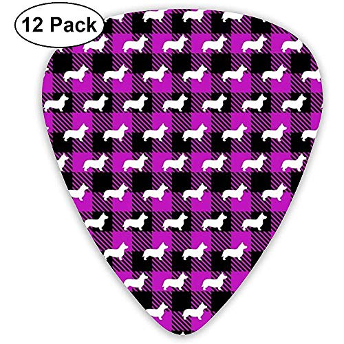 Corgi Buffalo Plaid Violet Plektren Geschenkset für klassische E-Bässe und Akustikgitarren