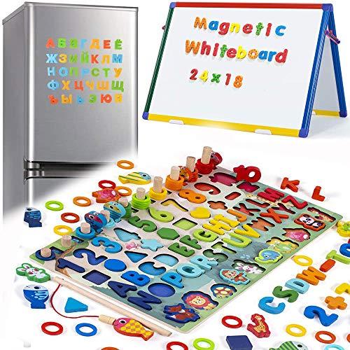 6 en 1 Juguetes Matematicos Magnéticos de Madera para Niños Juegos para Aprendizaje Magnéticos para Niños |Juguetes para Clasificar, Apilar y Tapar |Clasificadores de Formas |Juguetes Educativos