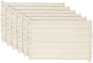 DII Tonal Fringe Placemat, Set of 6, Variegated Off White - Perfect for Fall, Thanksgiving, Dinner Parties, Weddings, Show...