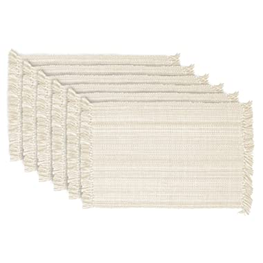 DII Varigated Collection Tabletop, Placemat Set, Off-White 6 Count