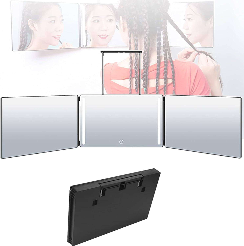 EUNEWR Espejo de 3 vías para Cortar el Cabello con luz led,Espejo de Tres Caras Plegable con Ganchos,360 Mirror Barber,tríptico Espejos con Soportes Altura Ajustable,para Maquillaje/Peinado/Teñido