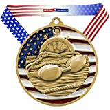 Decade Awards Swimming Patriotic Medal, Gold - 2.75 Inch Wide First Place Medallion with Stars and Stripes American Flag V Neck Ribbon