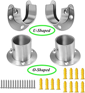 Socell 4 Packs Stainless Steel Wardrobe Bracket Heavy Duty Stainless Steel Closet Rod End Supports Closet Pole Sockets Flange Rod Holder with Screws,1-1/3 Inches Diameter(U-Shaped and O-Shaped)