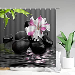 Zen Garden Shower Curtain Black Massage Basalt Stones Stream Water White Hibiscus Flower Green Bamboo Leaf Meditation Yoga Spa Club Decoration Curtain Bathroom Decor with Hooks