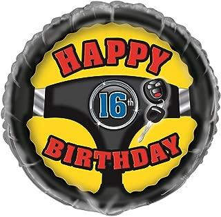 """Unique 1st Car Happy 16th Birthday Foil Balloon, Multi, 45cm (18"""")"""