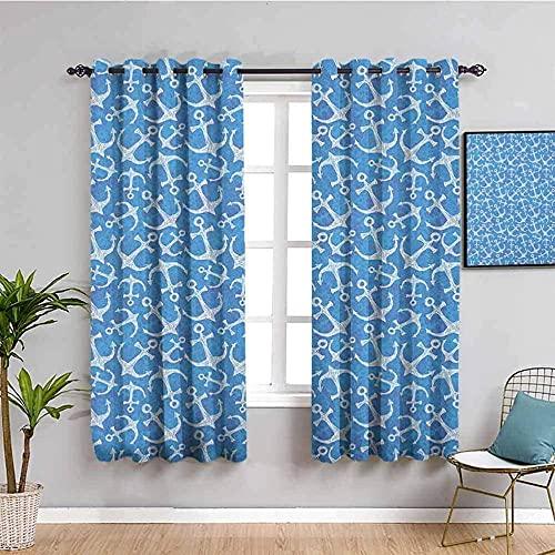GJJHR Cortinas Salon Cortinas Moderna 3D - Azul moda ancla patrón - 140x160 cm - Cortinas Comedor Cortina para Salón Dormitorio Oficina Moderna Decorativa Reducción de Ruido