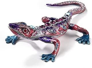 KALIFANO Jeweled Crystal Gecko Keepsake Box with Swarovski Element Crystals