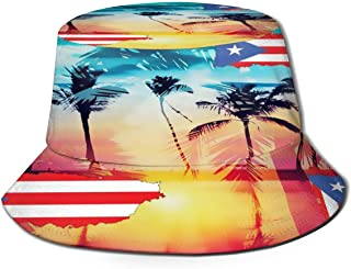 Fisherman Hat Puerto Rico Flag Tropical Plam Tree Bucket Hat Unisex 3D Printed Packable Bonnie Cap UV Protect Lightweight Sun Hat for Picnic Hunting Fishing Golf Hiking