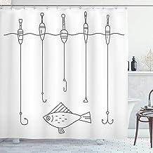 Aliyz Crescent-förmigen nautischen Duschvorhang Angelausrüstung Bojenhaken Fanggeräte Graffiti-Stil Kunstwerk Stoff Badezimmer Dekoration langlebig leicht zu reinigen