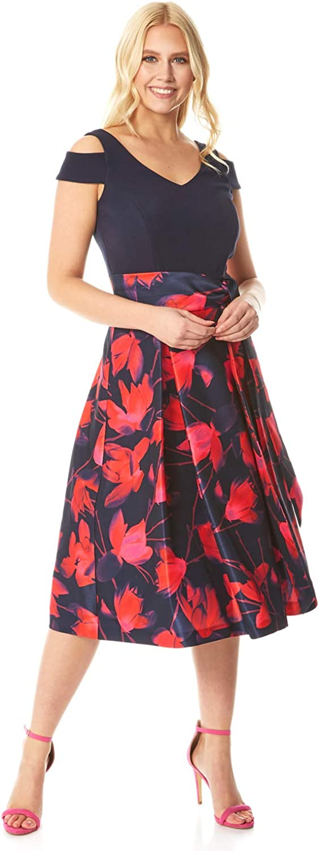 Roman Originals 当店限定販売 Women Floral Fit Flare Shoulder ※ラッピング ※ Cold Dress