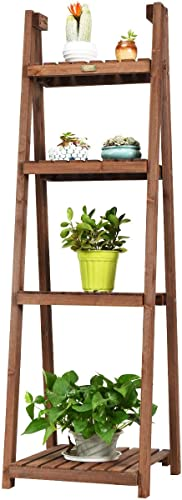 "high quality Giantex Folding Wooden Plant Stand, 4-Tier Flower Pot Holder, Foldable Plants sale Display Shelf Rack, online sale Free Standing Ladder Plant Shelf for Patio Garden Indoor Outdoor (18""X18.5""X60""(4-Tier)) online"