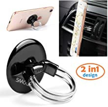 Phone Ring Holder Stand, 2 in 1 Universal Air Vent Car Phone Mount and Finger Grip Ring, 360°Rotation & 180°Flip with Stro...