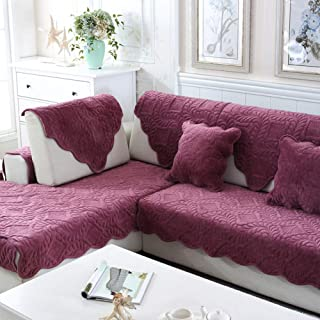 Thick Plush Sofa Cover,Winter Quilted Anti-Slip Sectional Sofa Slipcover Durable Soft Fabric Multi-Size Couch Covers Armrest Backrest Cover-red Wine 90x240cm(35x94inch)