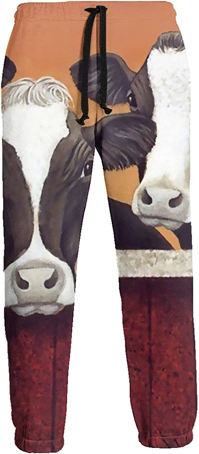 Mens Elastic Waist Sweatpants Beautiful Cows in Cowshed Joggers Sweatpants for Gym Training Sport Pants