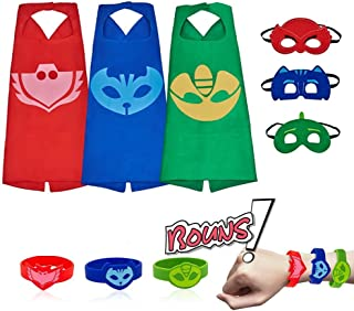 Kids Costumes 3 Packs,Dress Up Capes with Masks and Slap Bracelets Birthday Party Supplies for Boys Girls