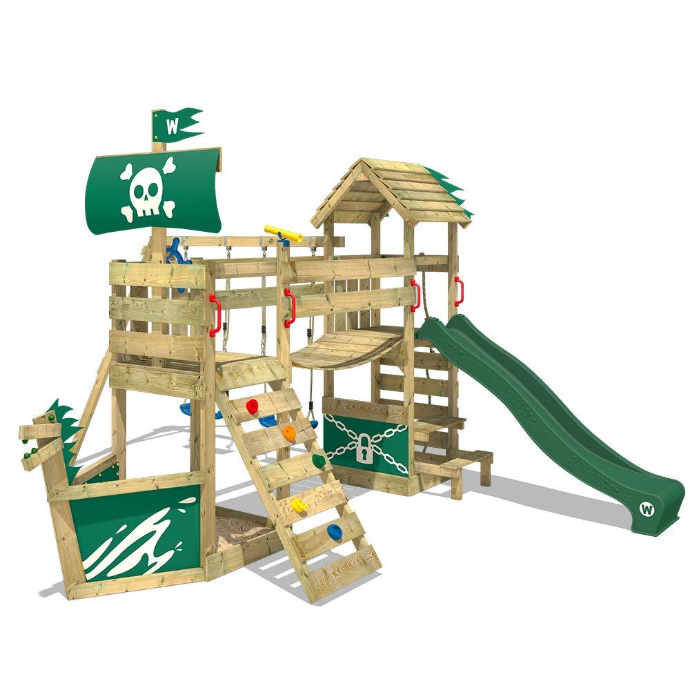 WICKEY Parque infantil de madera GhostFlyer con columpio y tobogán verde, Casa de juegos de jardín con arenero y escalera para niños: Amazon.es: Bricolaje y herramientas