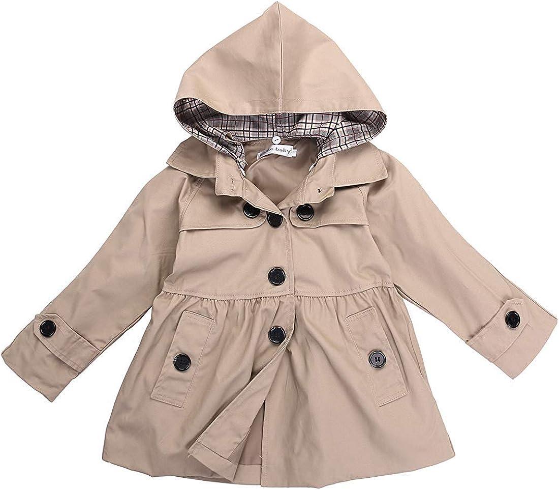 Kids Girls Fall Winter Trench Coat Little Girls Hooded Jacket Solid Color Windbreaker Outerwear 2-7 Years