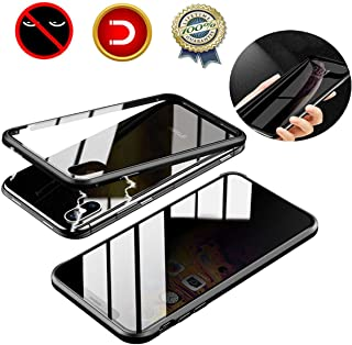 Privacy Magnetic Case for iPhone 11 Pro Max Anti-Peeping Clear Double Sided Tempered Glass[Built-in Privacy Screen Protector][Metal Bumper Frame] Anti-spy Case for iPhone 11 Pro Max Black 6.5