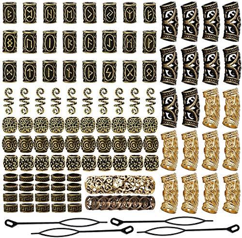 Queta 110 piezas de Cuentas de barba vikinga Cuentas de rastas Cuentas de tubo de pelo nórdicas decorativas Accesorios trenzados para cabello Collares Pulseras DIY
