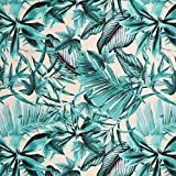 Fabulous Fabrics Canvas Dekostoff Blätter – türkis —