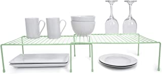 Smart Design Kitchen Storage Shelf Rack w/Plastic Feet - Steel Metal - Rust Resistant Finish - Cups, Dishes, Cabinet & Pantry Organization - Kitchen (10 x 32 Inch) (Large Expandable) [Light Green]