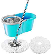 DIVA N DIYA Zemic Stainless Steel Easy Clean Microfiber Spin Bucket Mop with 2 Rifill (Assorted-color)